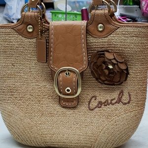 Coach straw bag  leather handles
